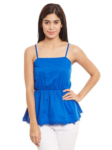 Camisole Top In Blue Color With Smocking At The Back/ TSF400698