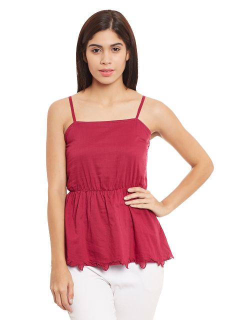Camisole Top In Marsala Color With Smocking At The Back/ TSF400699