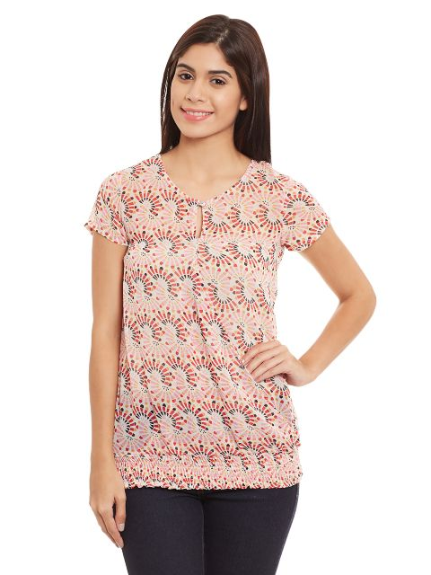 High Low Top With Front Overlapped Detail In Red Print/ TSF400722