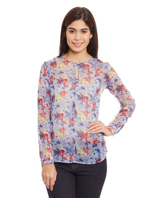 Round Neck Top In Blue Print/ TSF400762