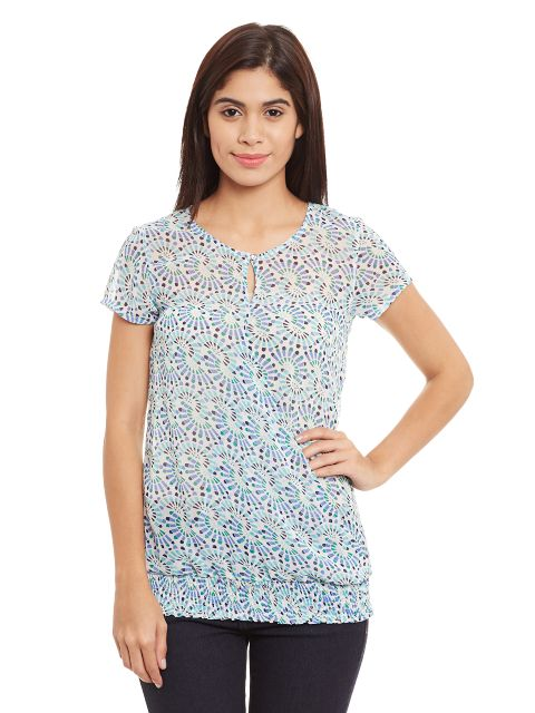 High Low Top With Front Overlapped Detail In Blue Print/ TSF400723