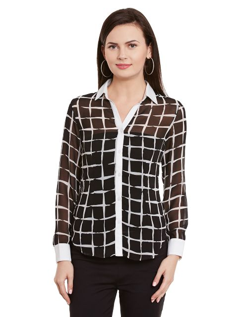 Front Button Down Shirt In Black Houndstooth Print/ TSF400747
