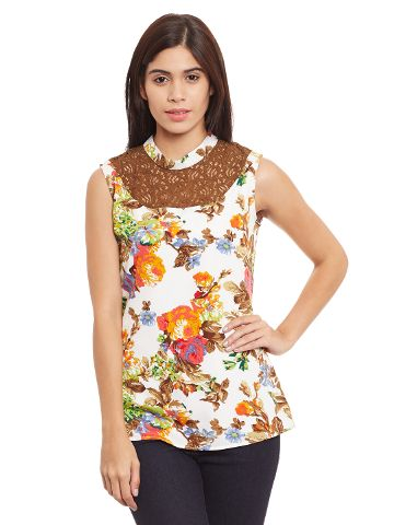 Top In Multi Color With Lace Overlay Around Neck/ TSF400760