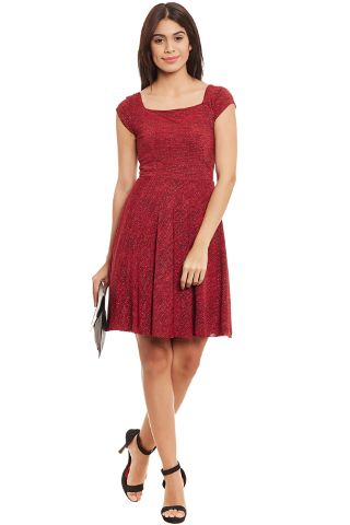Skater Dress In Red Melange With A Thin Waist Band /DRF500516