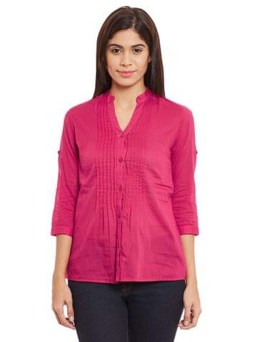 Front Pleated Top In Fuchsia Color /TSF400646