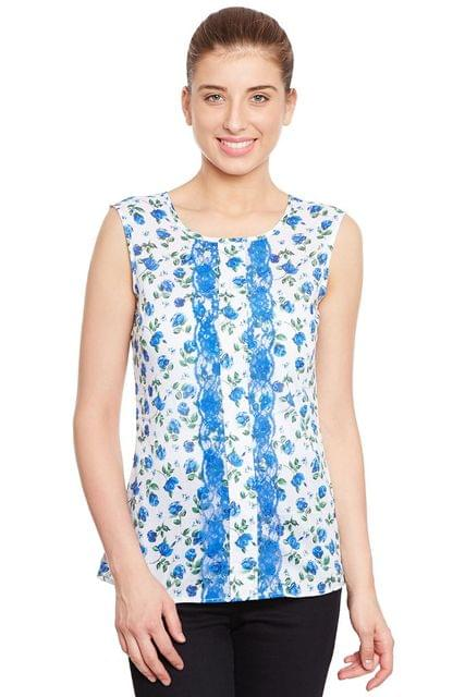 Front Placket Detail Top In Blue Print /TSF400682