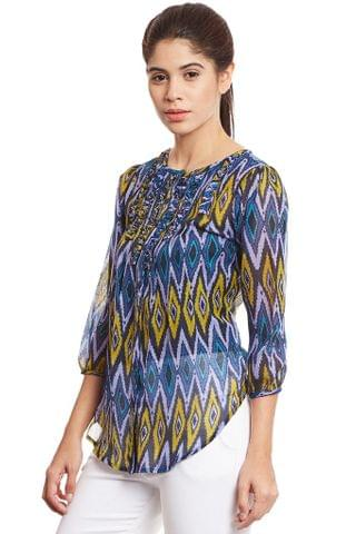 Front Open Shirt In Blue Print With Ruffles Detail /TSF400766