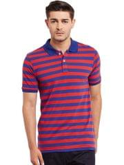 Polo T-shirt in Blue and Red Stripes /TSM840001