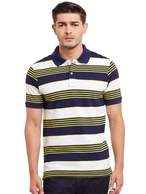 Polo T-Shirt In White And Navy Stripes /TSM840009