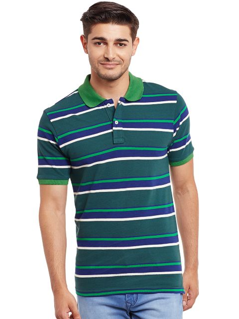 Polo T-Shirt In Green And Navy Stripes /TSM840004