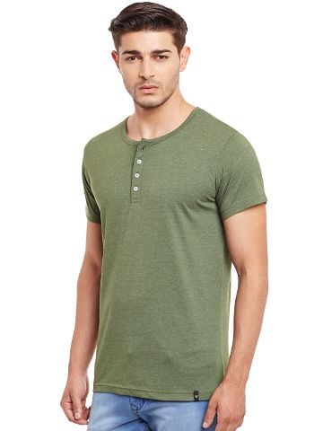 Henley T-Shirt In Green Melange Color /TSM840014