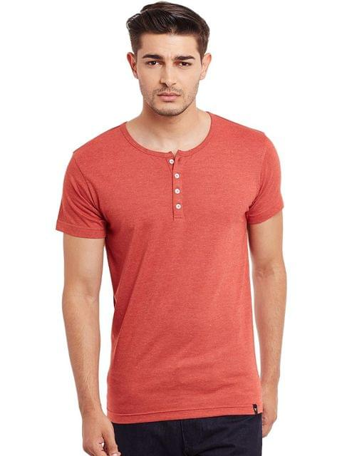 Henley T-Shirt In Orange Melange Color /TSM840015