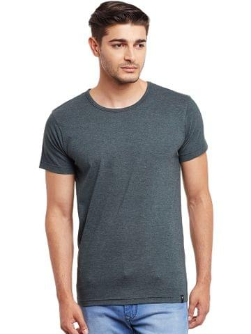 Round Neck T-Shirt In Olive Green Melange Color /TSM840020