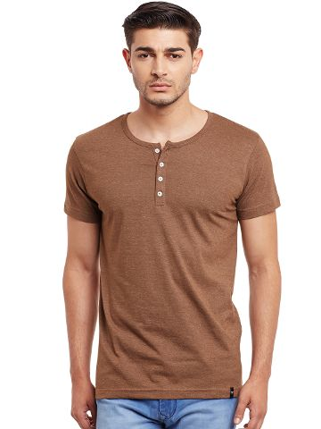 Henley T-Shirt In Brown Melange Color /TSM840017