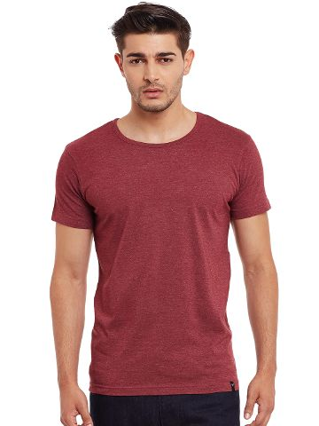 Round Neck T-Shirt In Maroon Color /TSM840018