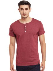 Henley T-Shirt In Maroon Color /TSM840027