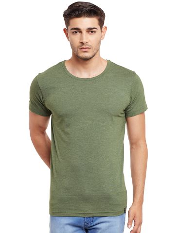 Round Neck T-Shirt In Green Melange Color /TSM840032