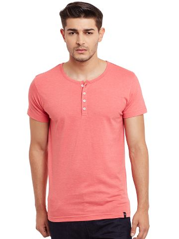 Henley T-Shirt In Pink Melange Color /TSM840031