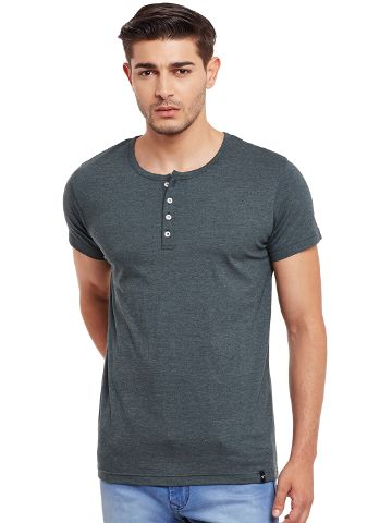 Henley T-Shirt In Green Color /TSM840029