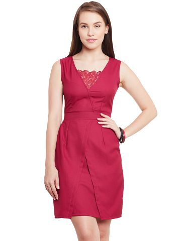 Bodycon Dress In Marsala Color With Front Overlapped Body Part/ DRF500429