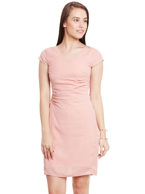 Bodycon Dress In Peach Color With Pleat Details At Front/ DRF500431