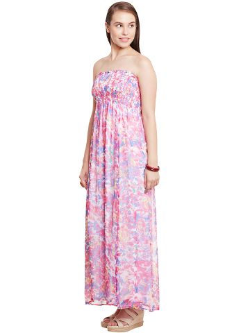 Tube Dress In Fuchsia Print With Smocking Detail/ DRF500555