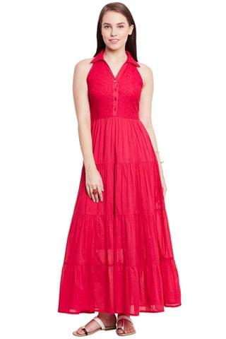 Front Button Down Maxi Dress In Fuchsia Color With Half Collar/ DRF500592