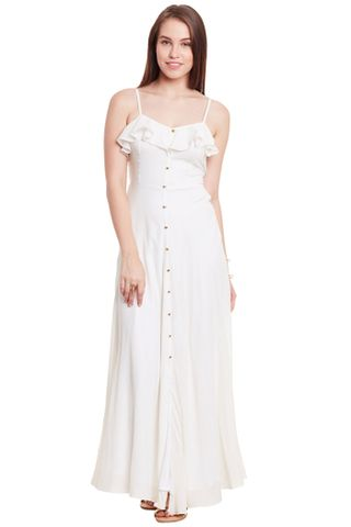 Maxi Dress In White Color With Flounce At Neck Part/ DRF500594
