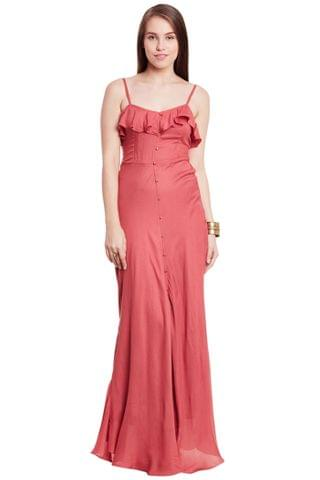 Maxi Dress In Rust Color With Flounce At Neck Part/ DRF500595