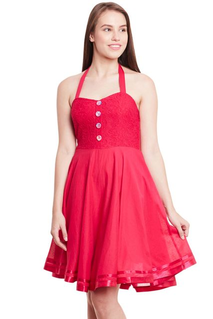 Halter Neck Skater Dress In Fuchsia Color/ DRF500601