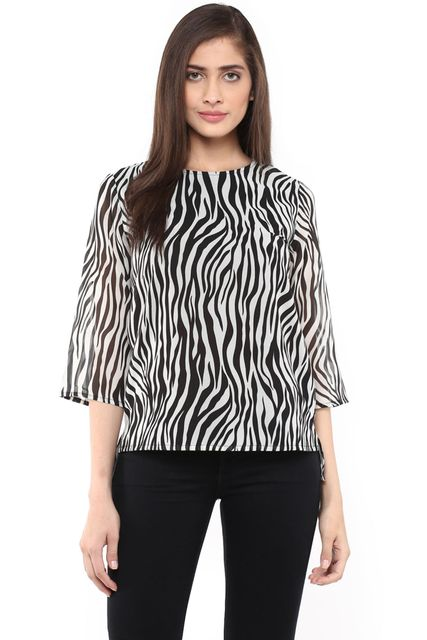 High Low Boxy Top In Black Print/ TSF400754