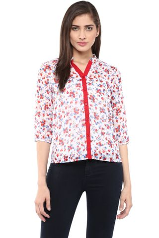 Front Button Down Shirt In Multi Color Print/ TSF400755
