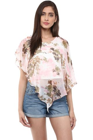 Double Layer Poncho Top In Multi Color Print/ TSF400756