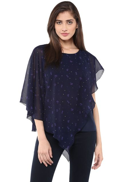 Double Layer Poncho Top In Blue Print/ TSF400758