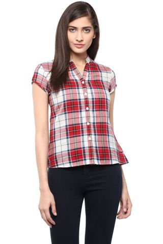 Front Button Down Shirt In Red Checks/ TSF400759