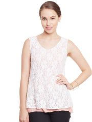 Double Layer Top In White Color With Back Slit/ TSF400774