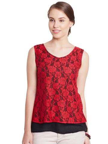 Double Layer Top In Red Color With Back Slit