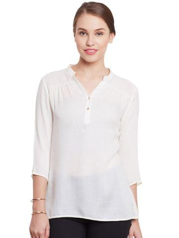 Front Button Down Top In White Color With Lace Overlay At Back Part/ TSF400777