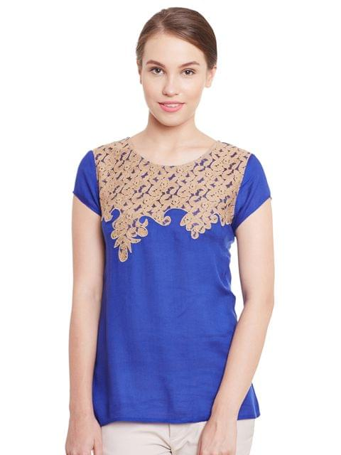 Top In Blue Color With Lace Patch Scalloped At Yoke And Sleeves/ TSF400776