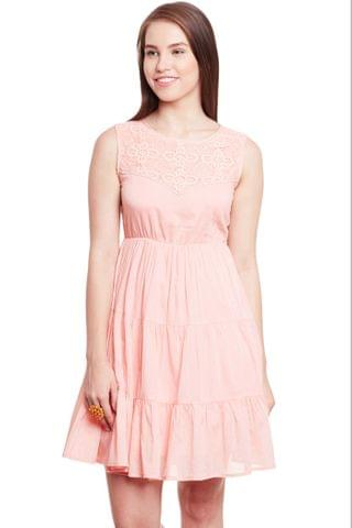 Flare Dress In Peach Color With Lace At Yoke Part/ DRF500593
