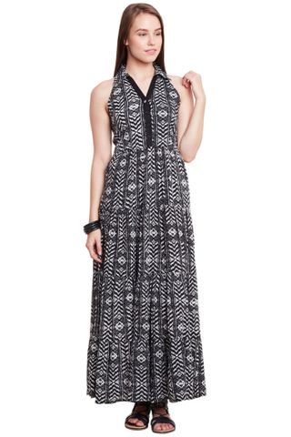 Front Button Down Maxi Dress In Multi Color With Half Collar/ DRF500606