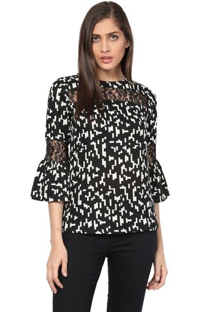Flare Top In Black Print With Lace Overlay/ TSF400744