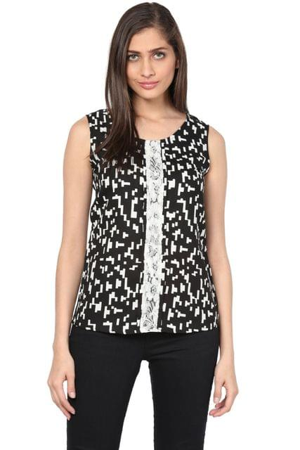 Round Neck Top With Lace At Front Placket/ TSF400745