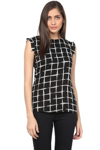 Casual Top In Black Print With Extended Shoulder/ TSF400748