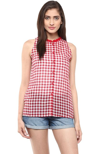 Front Button Down Flare Shirt In Red Checks/ TSF400791
