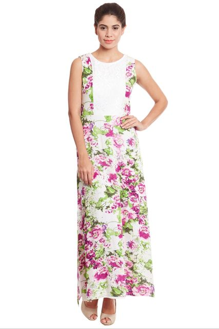 Maxi Dress In Multi Color With Lace Insert At Front And Back / DRF500580