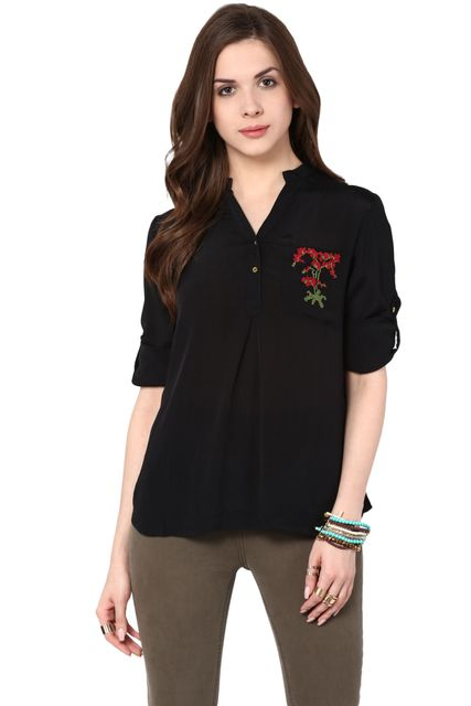 Front Button Down Top In Black Color With Embroidery Detail / TSF400770