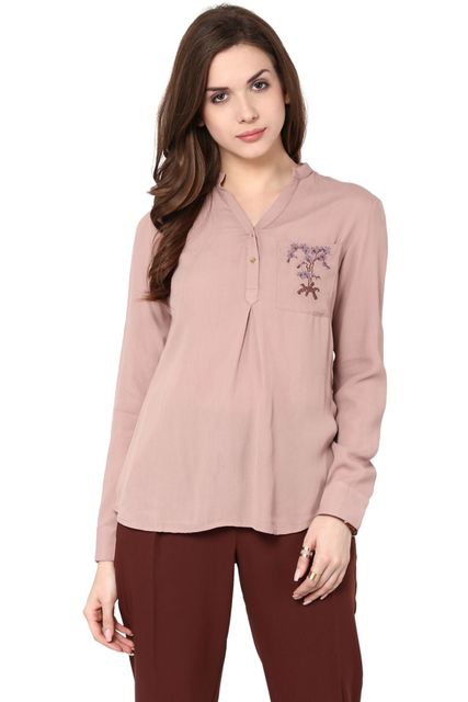 Front Button Down Top In Powder Color With Embroidery Detail / TSF400771