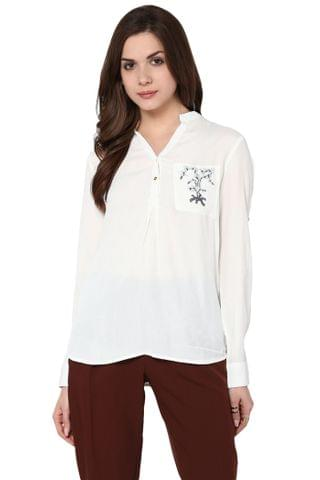 Front Button Down Top In White Color With Embroidery Detail / TSF400772