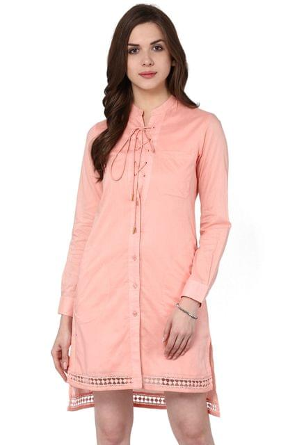 Front Button Down Long Shirt Dress In Peach Color With Lace Detailing At Edge / DRF500611